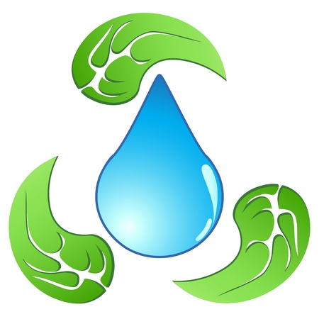 water recycling: the recycling symbol of the water drop around with leaves Illustration