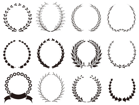 decorations wreaths: isolated  black Laurel Wreaths icon on white background