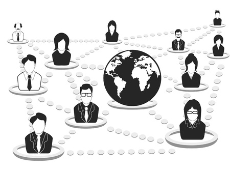global work company: the background of business people networking Illustration