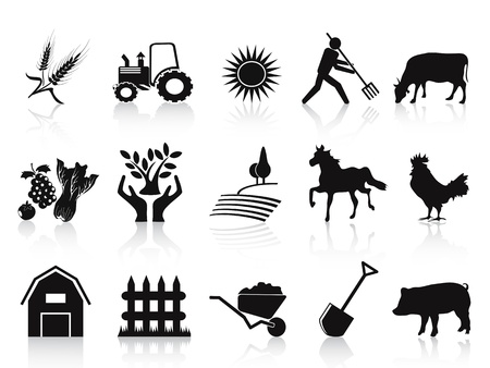pasturage: isolated black farm and agriculture icons set on white background Illustration