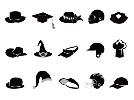 isolated various black hat Silhouettes on white background Vector