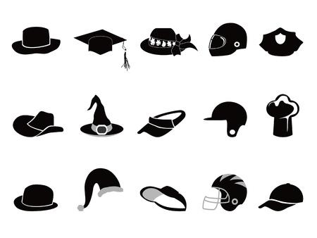 casco de moto: Siluetas aisladas varias de sombrero negro sobre fondo blanco