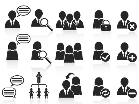 isolated black social symbol people icons set on white background