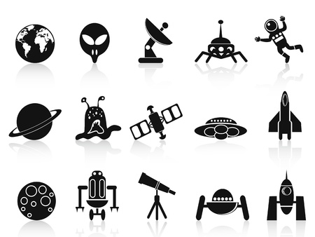 spacecraft: isolated black space icons set on white background