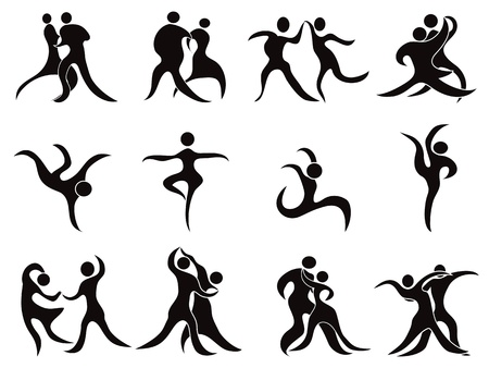 isolated abstract black dancers Silhouettes on white background