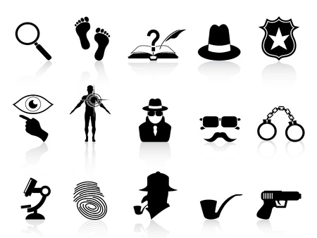 investigating: isolated black detective icons set on white background