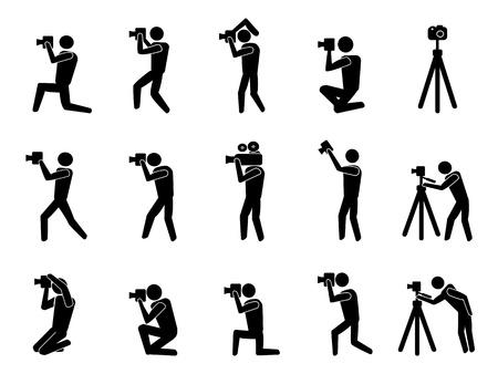 reporters: isolated black photographer icons set on white background