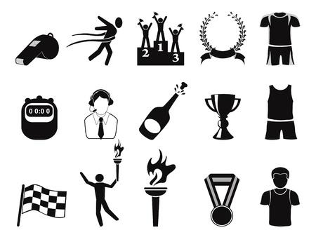 aislados deportivo negro iconos conjunto sobre fondo blanco Ilustración de vector