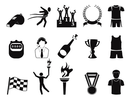 geïsoleerde zwarte sport pictogrammen instellen op een witte achtergrond Vector Illustratie