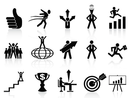 set of successful business icons on white background