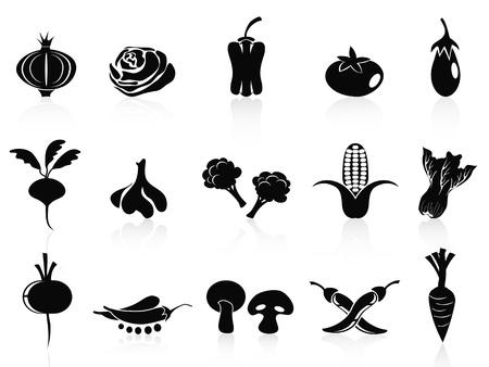 흰색 배경에 설정 고립 된 검은 야채 아이콘 스톡 콘텐츠 - 14407782