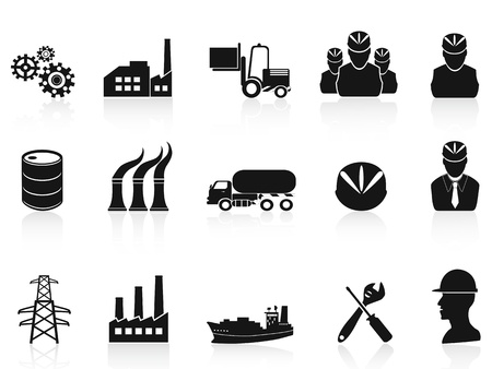 factory workers: isolated black industry icons set on white background Illustration