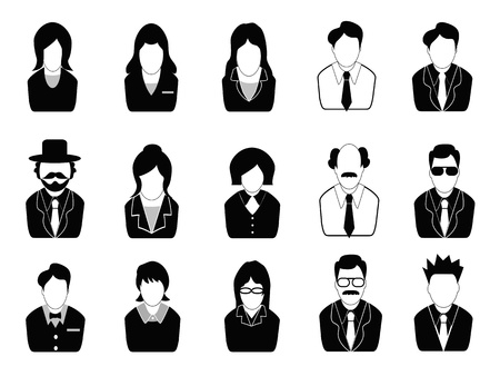 old business man: isolated business people icons set from white background