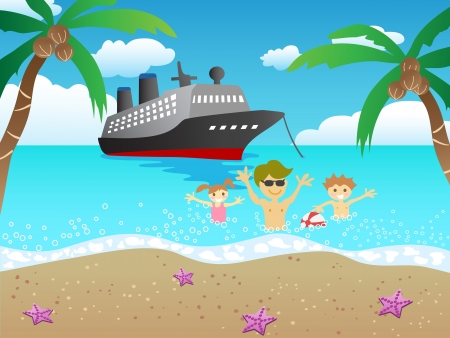a boat cruises to the beach and a family playing on the beach Vector