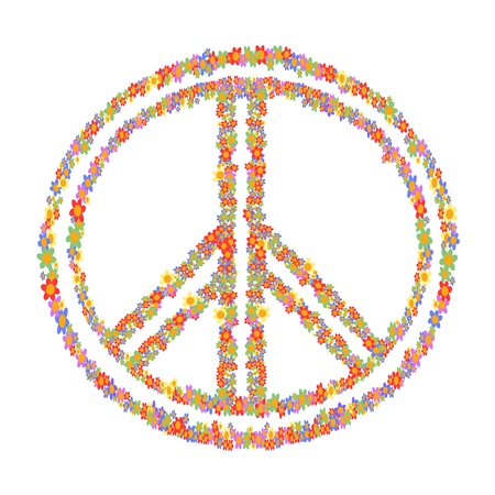 peace label: isolated colorful floral peace symbol on white background