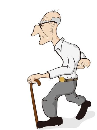 guy with walking stick: isolated an old man walking on the white background