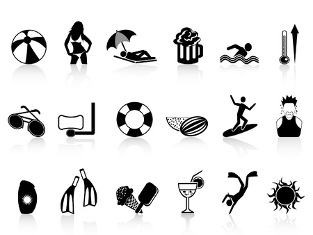 lifebelt: isolated black summer heat icons set on white background