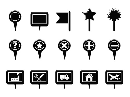 isolated black GPS and Map Navigation Markers from white background Vector