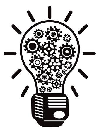 cogs: isolato la lampadina con gli ingranaggi su sfondo bianco Vettoriali