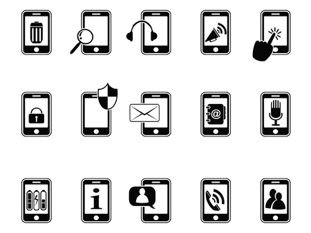 icon phone: isolated black mobile phone with icons on white background
