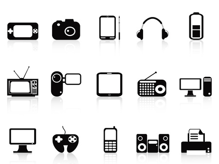 isolated black electronic objects icons set on white background Vector