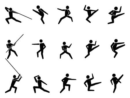 defensa personal: aislados de artes marciales de las personas iconos de símbolos de fondo blanco