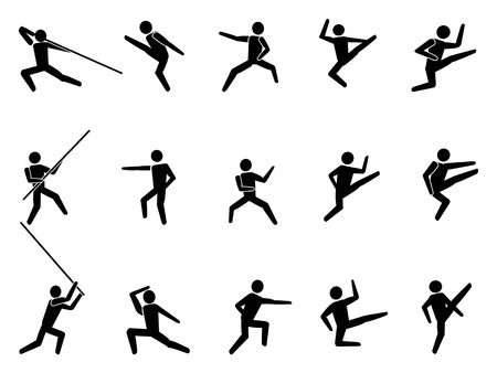 self defense: isolated martial arts symbol people icons from white background Illustration