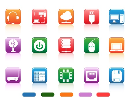 isolated computer devices and components buttons icon on white background Vector