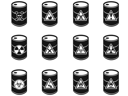 barrels with nuclear waste: isolated Toxic hazardous waste barrels icon on white background