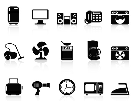 black appliances: isolato nero dispositivi domestici icons set su sfondo bianco