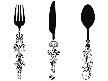 kitchen utensils: isolated ornament cutlery set on white background Illustration