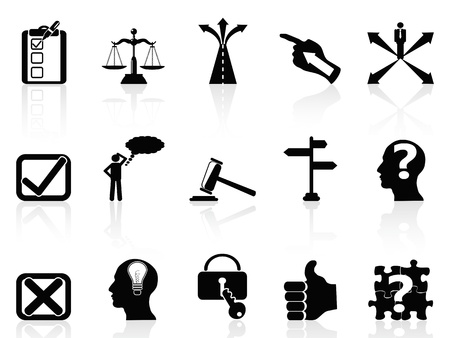 forked: isolated black life decisions icons set on white background