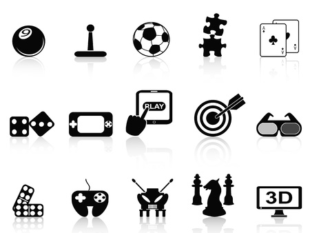 poker game: isolated black fun game icons set on white background