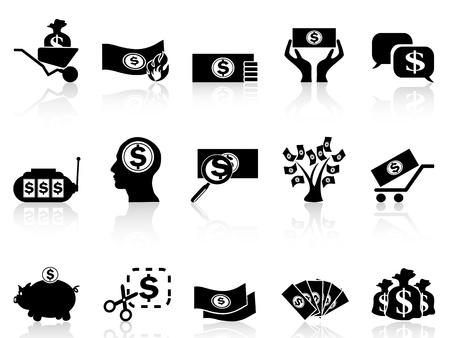 pieniądze: Pojedyncze czarne ikony money ustawić z białym tle