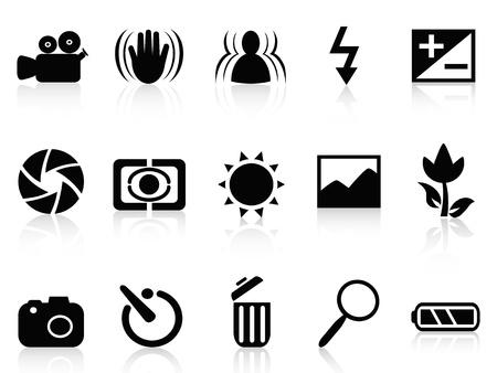 colección aislada del símbolo de la cámara réflex digital de fondo blanco