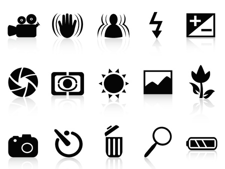 black and white photography: isolated collection of dslr camera symbol from white background