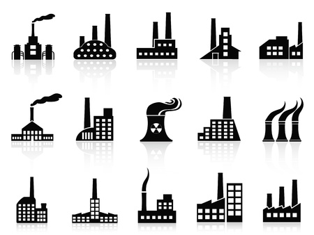 f�brica: Ícones de fábrica preto isolado jogo de fundo branco