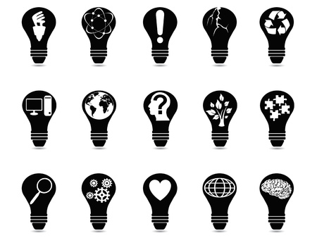cerebro blanco y negro: aislados iconos idea luz bombilla fijado en el fondo blanco