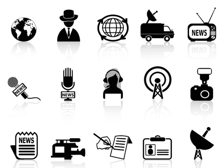 news van: isolated news reporter icons set from white background