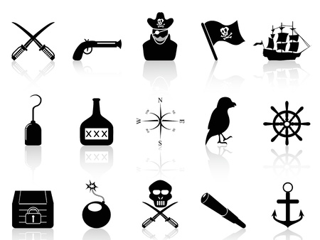 captain ship: isolated black pirate icons set from white background