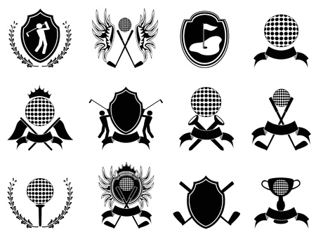 some collection of black golf insignia for design