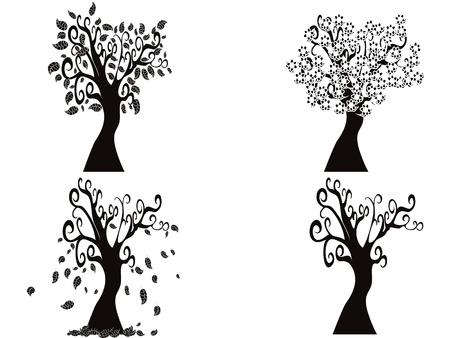 겨울에 봄의 나무 일러스트