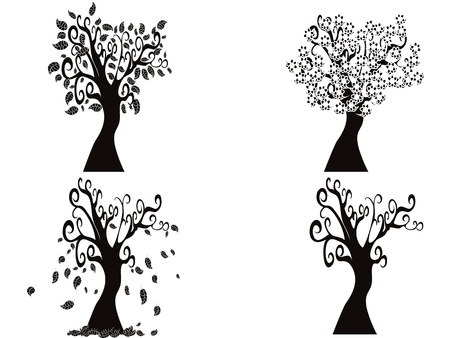 the tree from spring to winter Vector