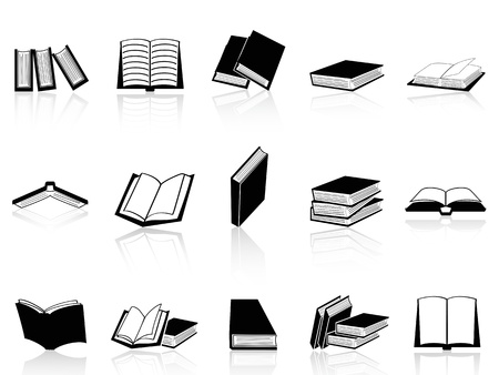 isolated book icons set from white background Illustration
