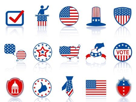 verkiezingen: kleur verkiezing pictogrammen en knoppen voor USA verkiezing ontwerp