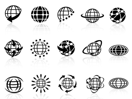 isolated globe icons on white background