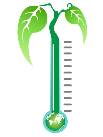 rising temperature: a green plant growing from thermometer