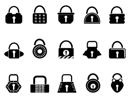 isolated black lock icons set on white background Stock Vector - 15059212