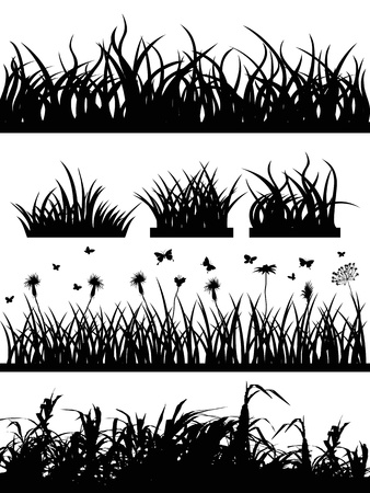 set of black grass silhouette on white background Vector