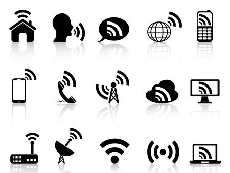 telecomm: aislados iconos de red negras establecidas en el fondo blanco